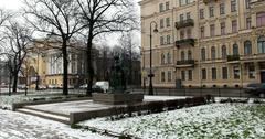 Monument to Tsar carpenter, Saint Petersburg, Russia Stock Footage