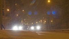 Stopped Cars on Snowing Night Stock Footage