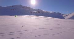 Snowkite lateral jump - Aerial 4K Stock Footage