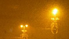 Dense Snowing Night Stock Footage