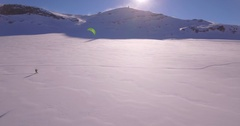 Snowkite lateral traveling - Aerial 4K Stock Footage