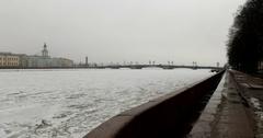 Admiralty embankment, frozen Neva, Palace bridge,  Kunstkamera, Saint Petersburg Stock Footage