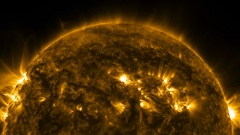 4K--Solar Magnetic Storms rage over the sun's surface. Stock Footage