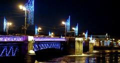 Christmas illuminations of Palace bridge, frozen river, Saint Petersburg, Russia Stock Footage