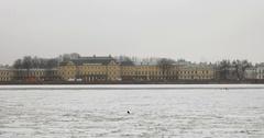 Menshikov Palace, frozen river Neva, snowfall, Saint Petersburg, Russia Stock Footage