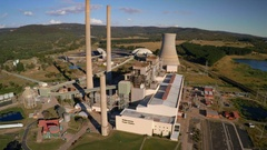 Old Wallerawang thermal coal energy generation plant, aerial fly-by Stock Footage