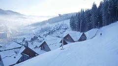 Winter snow village. mountain tourism. winter season Stock Footage