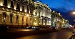 Palace Embankment, Winter Palace, roadway, Saint Petersburg, Russia Stock Footage