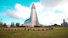 Hallgrímskirkja Reykjavik Church South Iceland Lutheran Skólavörðuholtið Stock Footage