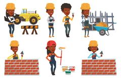 Vector set of constructors and builders characters Stock Illustration