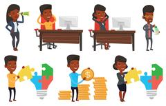 Vector set of business characters Stock Illustration
