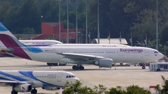 Airbus A320 of Bangkok airlines drives in airport Stock Footage