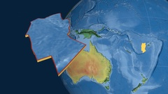 Conway Reef tectonic plate. Topography Stock Footage
