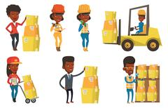 Vector set of industrial workers Stock Illustration