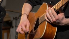 Acoustic, classic, wooden guitar playing Stock Footage