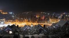 Time lapse of night winter snow village. mountain tourism. winter season Stock Footage