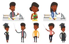 Vector set of student characters Stock Illustration