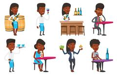 Vector set of people eating and drinking Stock Illustration