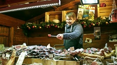 PARIS, FRANCE Steadicam shot of Christmas and New Year market Stock Footage