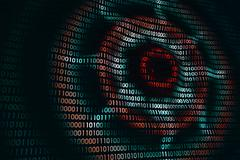 Circular waves on abstract digital wall in cyberspace, technology background Stock Illustration