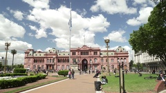 View of Buenos Aires Plaza De Mayo With Pink House Casa Rosada Stock Footage