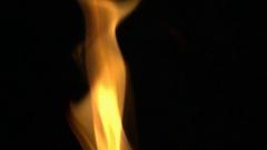 Flame burning on black background Stock Footage