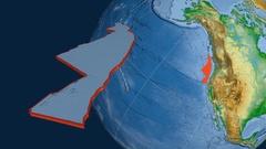 Juan De Fuca tectonic plate. Physical Stock Footage