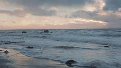 Ocean wind and waves in Vancouver near Wreck Beach Stock Footage