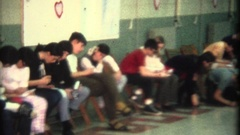 Vintage 8mm home movie, Valentines day party church basement Stock Footage