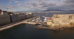 Aerial 4k drone shot castel castle dell ovo in Naples, Italy Stock Footage