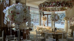Luxirious restaurant decorated for wedding party Stock Footage