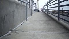 Brenham, TX - Jan 2017- walking day shot of a wheelchair access ramp 4K Stock Footage