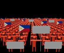 Crowd of people with signs and Philippines flags illustration Stock Illustration