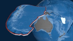 New Hebrides tectonic plate. Elevation and bathymetry Stock Footage