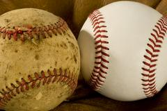 Old and New Baseballs Stock Photos