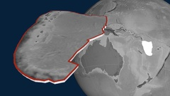 New Hebrides tectonic plate. Elevation Stock Footage