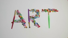 Word Art made of office stationery Stock Footage