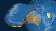 New Hebrides tectonic plate. Satellite imagery Stock Footage