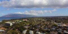 Tropical City Aerial View. 360 Turn South Kihei, Kalama, Cove Park.  Stock Footage