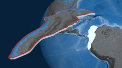 North Andes tectonic plate. Elevation and bathymetry Stock Footage