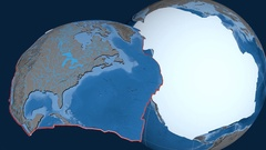 North America tectonic plate. Elevation and bathymetry Stock Footage