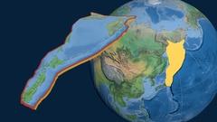 Okhotsk tectonic plate. Natural Earth Stock Footage