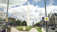View of obelisk in Buenos Aires with BA trees Stock Footage