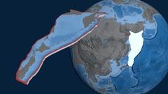 Okhotsk tectonic plate. Elevation and bathymetry Stock Footage