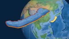 Okinawa tectonic plate. Natural Earth Stock Footage