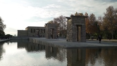 The El Templo (Temple Of Debod) Monument In Madrid Stock Footage