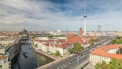 Berlin. City skyline with TV Tower, Berliner Dom and River Spree Stock Footage