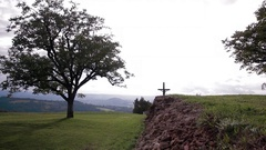 Heavenly tree by a cross in the center of France Stock Footage