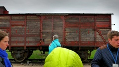 4K Holocaust Prisoner Train Car, Concentration Camp, Memorial Tours Stock Footage