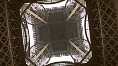 Eiffel tower, center view from below. 4K rotation video Stock Footage